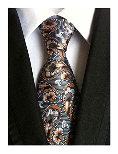Wehug Men's Classic Paisley Tie Silk Woven Necktie Jacquard Neck Ties For Men Brown LG0024