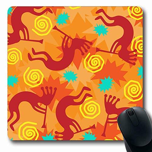 Jamron Mousepad OblongJPEG Spa脽 Geist Orange Zeichnung Traditionelle Stilisierte Mythos Musik Kokopelli Trickster Fliesen Texturen Rutschfeste Gummimaus Pad B眉ro Computer Laptop Spiele Mat.-Nr.