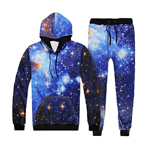 2019 Men's Jogging Tracksuit Print Sportswear Joggers Set Casual Hoodie Sweatshirt+Jogger Sweatpants by-Leegor Blue
