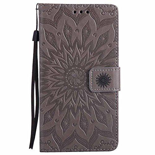 Dfly G4 Hülle, Premium Slim PU Leder Mandala Blume prägung Muster Flip Hülle Bookstyle Stand Slot Schutzhülle Tasche Wallet Case für LG G4, Grau