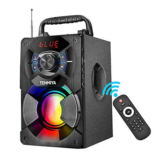 Portable Bluetooth Speakers with Subwoofer, Loud Stereo, Expressive Bass, Outdoor 100ft Wirless Bluetooth Speakers with Colorful Party Lights, Support FM Radio, Remote, Home Speaker for Phone Computer