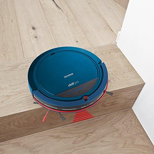 Severin RB 7028, Saugroboter, Inklusive Premium-Set mit Ladestation, Pointer-Fernbedienung und Raumteiler, S´SPECIAL chill pro, Blau/Rot