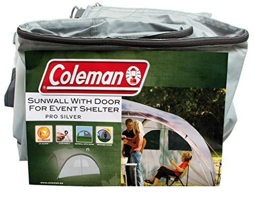 Seitenwand für Coleman Event Shelter L und Event Shelter Pro L 3,6 x 3,6 m, Pavillon Seitenteil mit Tür und Fenster, Sonnenschutz, wasserabweisend, Silber