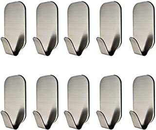 MXtechnic 3M Self Adhesive Hook Stick on Wall 304 Stainless Steel Polished Hanging Clothes Coat Hat Hooks and Strong Heavy Duty Metal Super Power Hooks Storage Organizer (10 Pack)