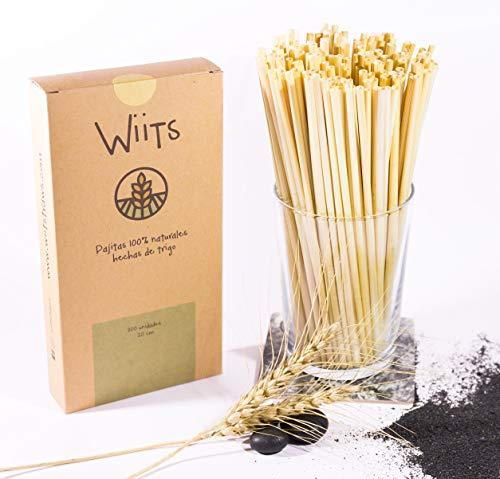 Wiits   Pajitas Naturales de Trigo   Biodegradables y compostables   Caja 200 Unidades   Sin Gluten