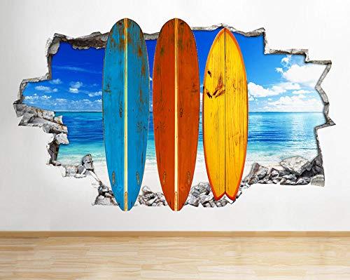 Tablas de surf de playa Sea Living Smashed Wall Decal 3D Art Stickers Habitación de vinilo 3D calcomanías de pared personalizadas 60X90CM