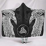 AXGM Manta con capucha, diseño de los gemelos, cuervos nórdicos, mitología vikinga, supercálida, para sofá, color blanco, 150 x 200 cm