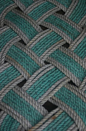 "36"" x 15"" Rope Rug Doormat Rope Rug Tightly Knotted Handmade 100% Eco-Friendly Made in Alaska Green with Silver Trimmed Accent"