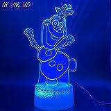 3d lampe film congelés bonhomme de neige figurine enfants nuit lumière chambre...