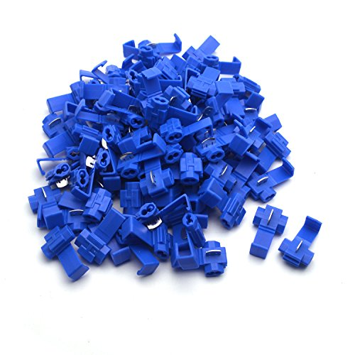 Antrader 100pcs Blue Double Run Solderless 18–16 AWG Wire Quick Splice Connector Electrical Terminals Crimp
