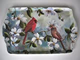 15' Cardinals and Dogwood Flowers Melamine Plastic Serving Tray