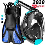 cozia design Snorkel Set with Full Face Snorkel Mask and Travel Adjustable Swim Fins (Pink, XS)
