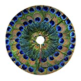 30 inches Christmas Tree Skirt Peacock Feather Circle Xmas Tree Mat for Christmas & Halloween Decorations Indoor Outdoor Decoration