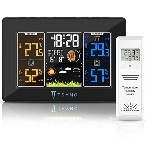 Stazione Meteo,TSYMO Stazione Meteorologica con Sensore Esterno Interno Barometro Previsioni del Tempo Fasi Lunari LCD Display Temperatura Umidità Allarme