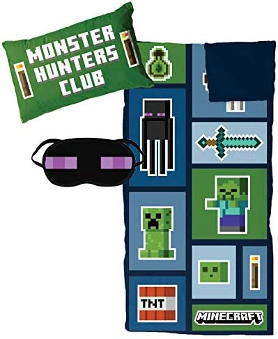 Jay Franco Minecraft Creeper 3 Piece Sleepover Set Cozy Warm Kids Slumber Bag with Pillow Eye product image