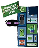 Minecraft Creeper 3 Piece Sleepover Set - Cozy & Warm Kids Slumber Bag with Pillow & Eye Mask (Official Minecraft Product)