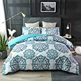 NTBED Bohemian Comforter Set Queen Blue Exotic Mandala Pattern Lightweight Boho Bedding Quilt Sets