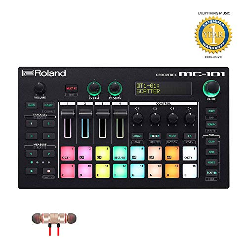 Review Roland MC-101 Groovebox Music Production Workstation Includes Free Wireless Earbuds - Stereo ...