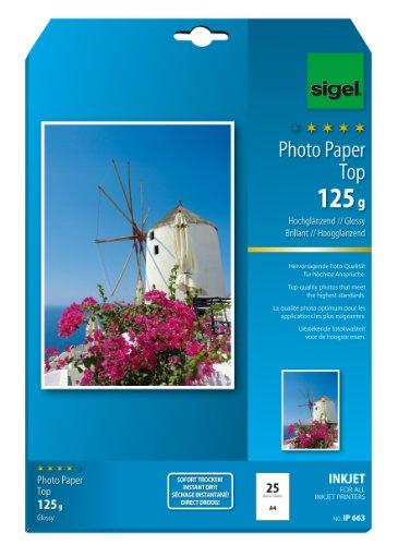 SIGEL IP663 InkJet-Fotopapier Top, A4, 25 Blatt, hochglänzend, hochweiß, 125 g