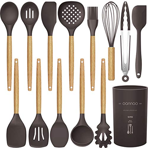 14 Pcs Silicone Cooking Utensils Kitchen Utensil Set, 446°F Heat Resistant,Turner Tongs,Spatula,Spoon,Brush,Whisk. Wooden Handles Kitchen Gadgets Tools Set for Nonstick Cookware (Dark Coffee)