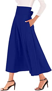 Women Long Skirt High Waist Solid Color A Line Casual Slit Belted Maxi Skirt