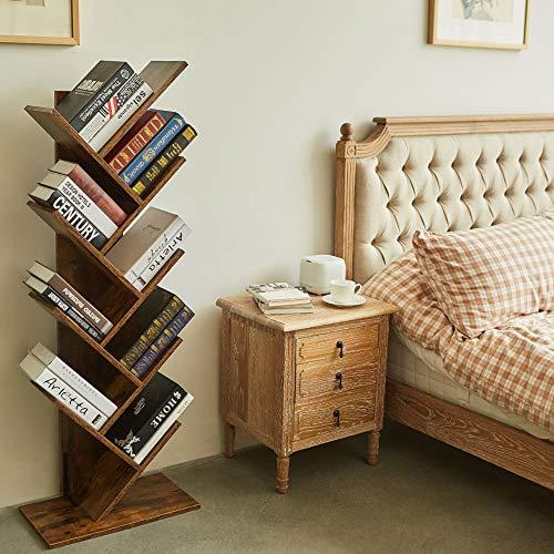 SUPERJARE 9-Shelf Tree Bookshelf, Floor Standing Tree Bookcase in Living Room/Home/Office, Bookshelves Storage Rack for CDs/Movies/Books - Retro Brown