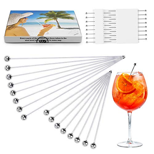 Cocktail Picks Reusable Metal Set - 16 Pcs Stainless Steel Pins 4 inch and 6 inch Drink Skewers Sticks Spears for Cocktails Drinks Martinis Food Olives Hamburger Appetizers Birthday Party Home Bar