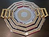 Set de 3 bandejas marroqui para el te con asas - bandeja arabe hexagonal dorada con grabados arabes color dorado