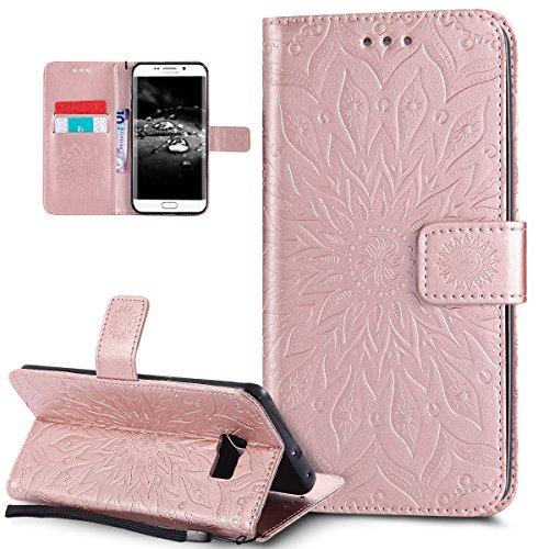 Kompatibel mit Galaxy S6 Edge Plus Hülle,Prägung Mandala Blumen Sonnenblume Muster PU Lederhülle Flip Hülle Cover Schale Ständer Etui Wallet Tasche Hülle Schutzhülle für Galaxy S6 Edge Plus,Rose Gold