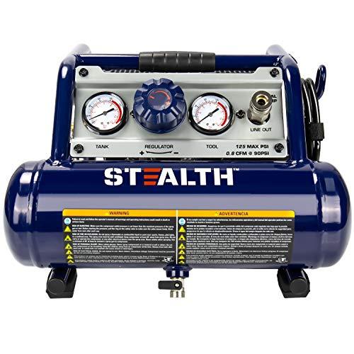 Stealth Ultra Quiet 1 Gallon ½ HP Max 125 PSI 0.8 CFM@90PSI Oil-Free Light Weight Portable Air Compressor Air Tools, SAUQ-1105