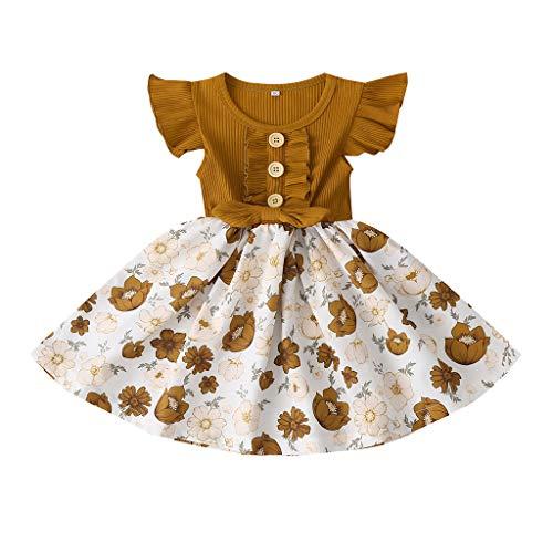 Neugeborenes Baby- Unisex Schlafsack Strampler Kleinkind Baby Mädchen Rüschen Fly Sleeve Blumendruck Prinzessin Kleid ODRD Mädchen Jungen Body Babyschlafsack