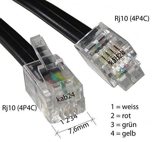 Kab24® Modularkabel RJ10 Stecker (4P4C) auf RJ10 Stecker (4P4C)