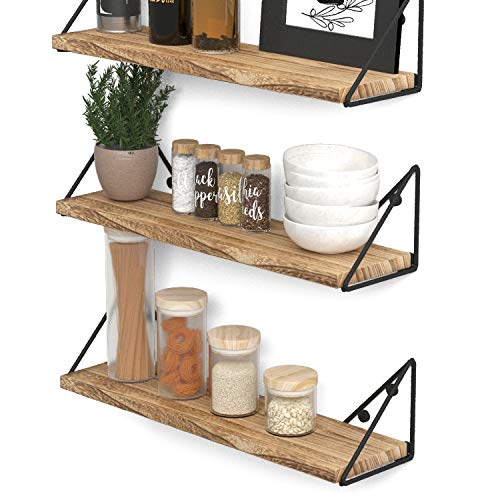 Wallniture Pigna Floating Shelves for Wall Rustic Wood Wall Shelves for Kitchen Organization and Storage Burned Finish Set of 3