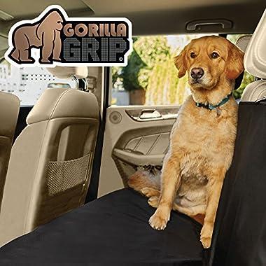 Gorilla Grip Original Premium Slip-Resistant Pet Car Seat Protector Pets, Durable Protectors Cars, Truck, SUV, Underside Grip, Waterproof, Seat Belt Openings, Pocket, X-Large (Bench: Black)