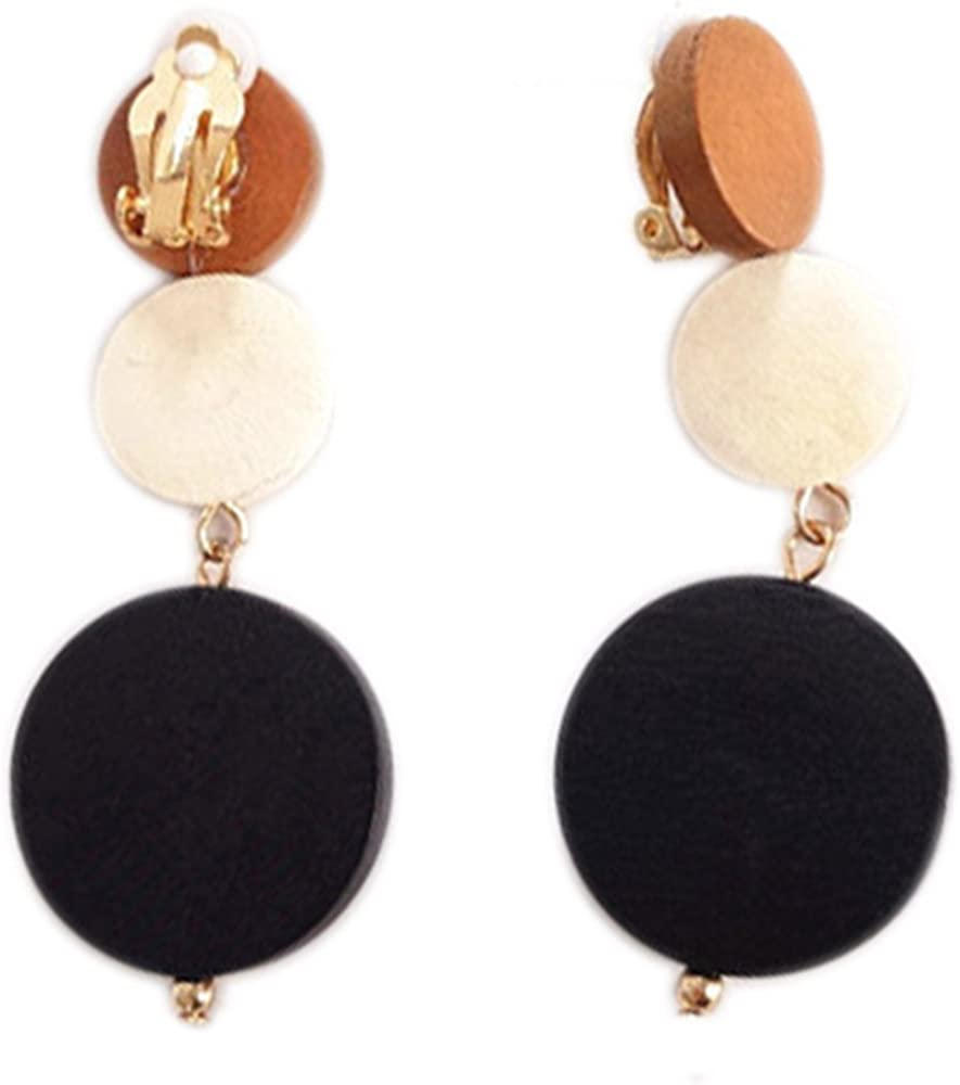 Clip On Earrings Round Dangle online NEW shopping Gold Plat Delicate Circle
