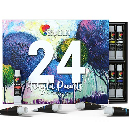 Zenacolor Acrylic Paint, Set of 24 Tubes of 0.4 oz (12 mL) Art Set for Adults and Kids, Painting on Canvas Panels, River Rocks, Glass, Wood, Fabric, Ceramic