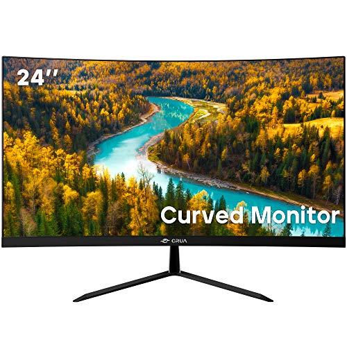 "CRUA 24"" Curved 75Hz Gaming LED Monitor,Full HD 1080P LED Backlight Monitor,Eye-Care with AMD FREESYNC Technology, VGA+HDMI(VESA)…"