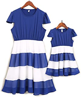 1927a4929 PopReal Mommy and Me Round Neck Cap Sleeve Stripes Swing Matching Midi Dress