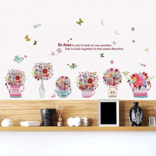 Botella Flor Mariposa Citas Sala de estar Decoración de fondo Extraíble Pegatinas de pared Vinyl Decal Decor Mural Art Wallpaper