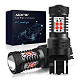 AUXITO Brilliant Red 7440 7441 7443 7444 992 W21W T20 14-SMD 3030 Chipsets LED Bulbs with Projector for Brake Light Tail Light,Pack of 2