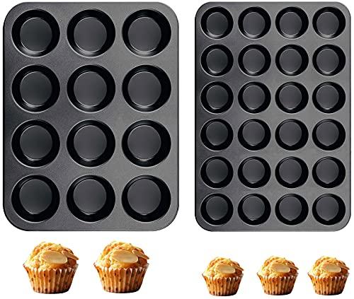 Muffinform Silikon Backform Mini Muffinform für 24 Muffins und Regular 12 Muffins, 2er-Pack Muffin Backblech klein 38 x 27 cm, Cupcake Formen Antihaftbeschichtet