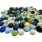 TSY TOOL 3 Lb (Approx 300 Count) 3 Bags Mixed Color Glass Gems Pebbles Stones Flat Marbles for Vase Accents and Crafting