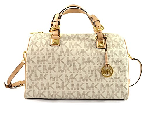 Large monogram print PCV satchel with tan leather trim and polished golden tone hardware Lined interior with zippered pocket and 4 open slip pockets Zippered top closure with removable Michael Kors circular logo hang charm Dual leather handles with h...