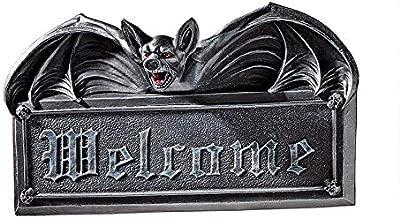 Design Toscano Welcome Sign - Vampire Bat Welcome Wall Sculpture - Bat Figure - Halloween Bats