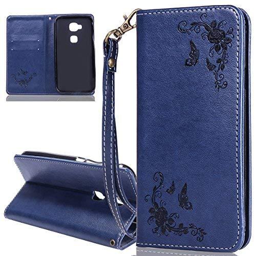 ISAKEN Huawei G8 Hülle, PU Leder Brieftasche Wallet Hülle Cover Ledertasche Handyhülle Tasche Schutzhülle mit Handschlaufe Standfunktion für Huawei G8 / Huawei GX8 - Rose Schmetterlinge Dunkelblau