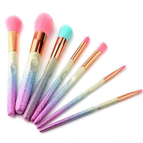 Bureze 7 pcs dégradé coloré 3D Pinceaux de Maquillage Blush Poudre Fond de Teint Kits d'outils beauté