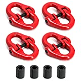 """QWORK 4Pcs Red Painted G80 Alloy Steel Connecting Link, 3/8"""", 7100 lbs Working Load Limit"""