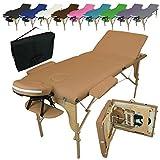 Vivezen Table de massage pliante 3 zones en bois avec panneau Reiki + Accessoires et housse de transport - 10 coloris - Norme CE - Marron clair