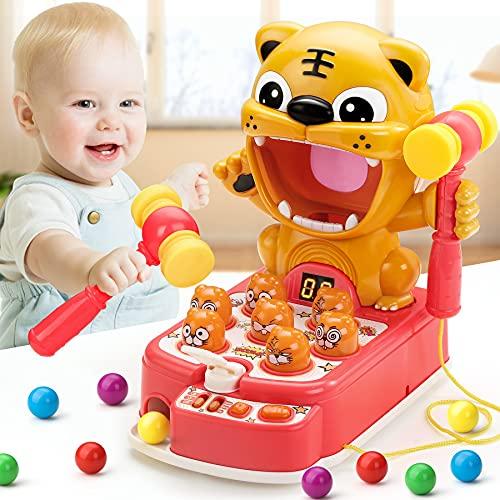 COOJOMMY Juguete de Martillo para Bebé, Mini Juego Arcade Electrónico, Juego de Monedas de Banco con 2 Martillos, Juego Interactivo de Golpear del Tema Tigre Regalo para Niños Niñas Más de Bebé