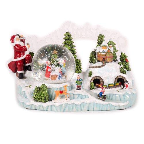 WeRChristmas - Palla di neve musicale illuminata, 30 cm, con motivo natalizio e trenino